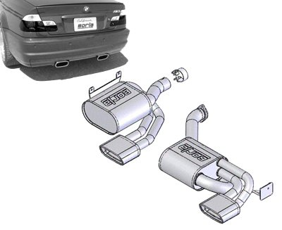 T#151 - 140091 - E46 M3 Borla Sport Exhaust - Rear Mufflers with Oval Tips - Borla -