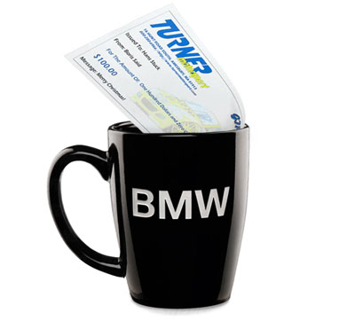 T#1640 - BMW-MUG-100TMS - Genuine BMW Coffee Mug & $100 Turner Motorsport Gift Certificate - Turner Motorsport - BMW MINI