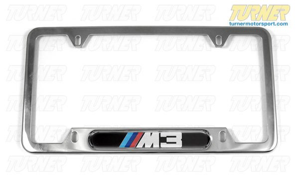 T#1112 - 82120010401 - M3 License Plate Frame Silver Polished - Genuine BMW - BMW