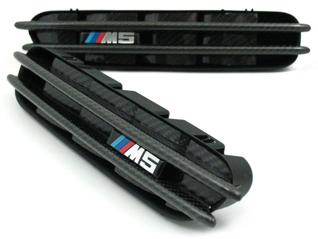 T#4184 - BM-0072-EMB - Carbon Fiber Fender Side Grill Set - E60 M5 - Turner Motorsport - BMW