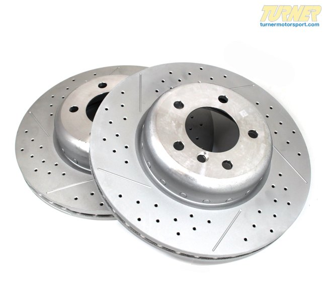T#341143 - 34116786392 - Cross-Drilled & Slotted Brake Rotors - Front - E82 135i - Genuine BMW - BMW