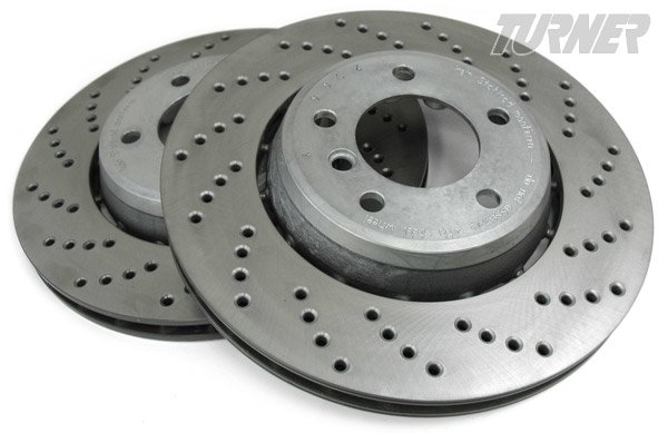 T#1516 - 34110431905-906 - Cross-Drilled & Floating Brake Rotors - Front - E46 330i/ci, Z4 3.0si - Turner Motorsport - BMW