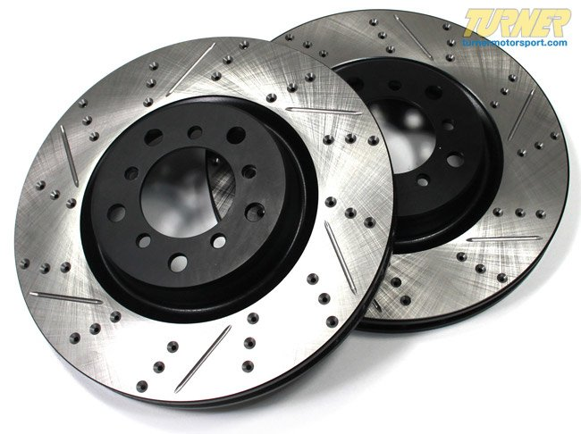 T#12033 - TMS12033 - Cross-Drilled & Slotted Brake Rotors - Front - E46 M3 (pair) - StopTech - BMW