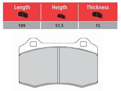 T#2509 - TMS2509 - Brembo Calipers Lotus, A, C, F - Race Brake Pad Set - Hawk HT10 - Hawk - BMW MINI