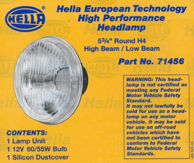 T#3953 - 71156 - E30/E24/E28 Hella 5 3/4 inch High Beam Headlights - Hella - BMW