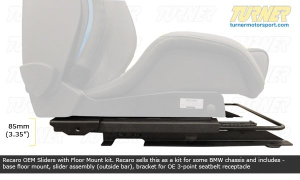tms174114 seat floor adapters with sliders e46 recaro oem turner motorsport. Black Bedroom Furniture Sets. Home Design Ideas