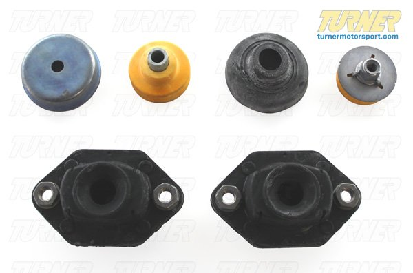 T#11953 - E9X-REAR-MOUNTS - Rear Shock Mounts (RSM) - Lower + Upper - OEM Rubber - E82, E9X (not M) (Pair) - Packaged by Turner - BMW