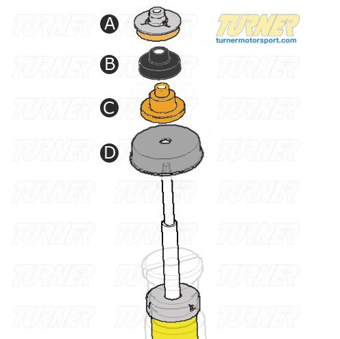 T#11948 - E92MOUNTKIT - 3-series Strut/Shock Mount Kit - E92 Coupe, E93 Convertible (Not M) - Turner Motorsport - BMW